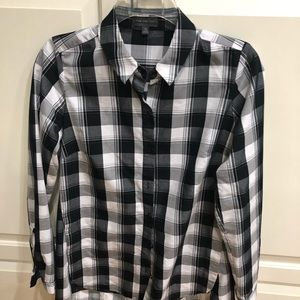 Black a white plaid long shirt